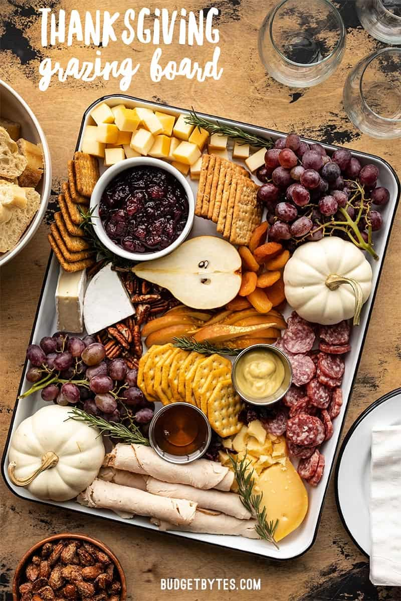 Overhead view of a thanksgiving grazing board