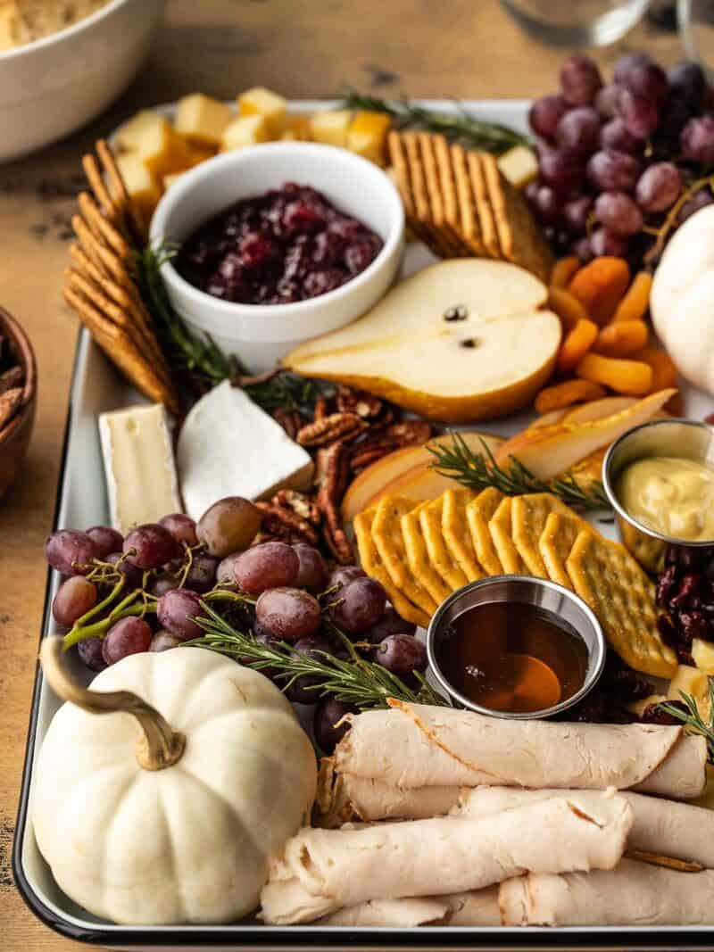 Side view of a Thanksgiving grazing board