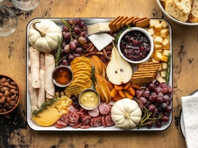 Overhead view of thanksgiving grazing board