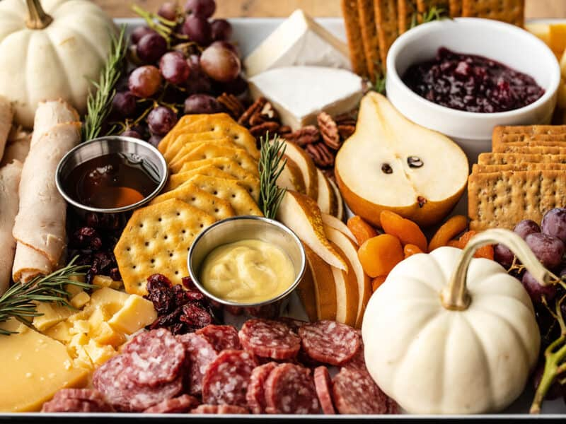 Close up view of a Thanksgiving Grazing Board