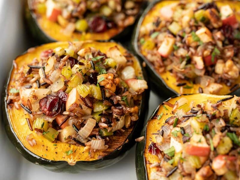 Wild rice stuffed acorn squash close up from the front