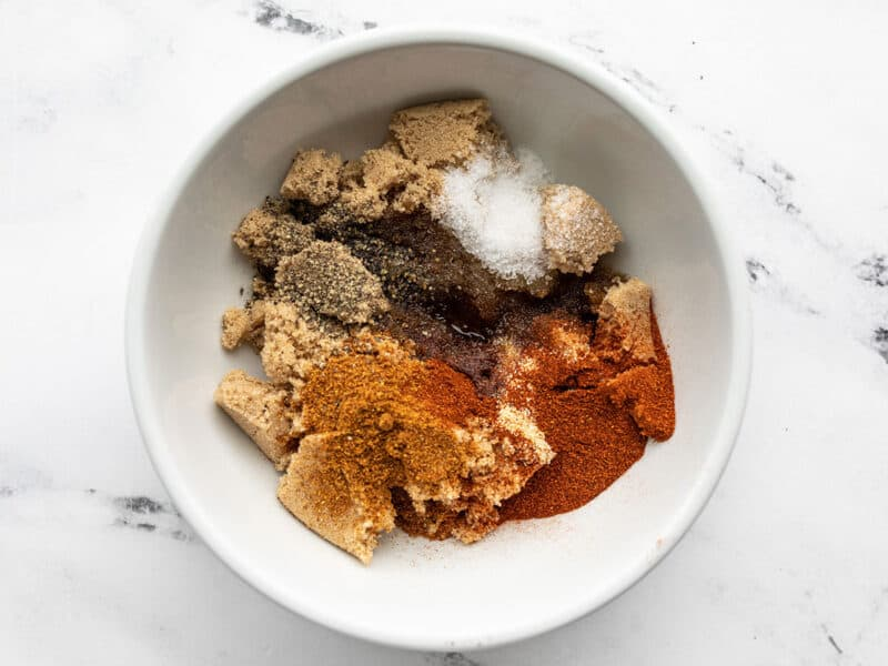 Brown sugar rub ingredients in a bowl