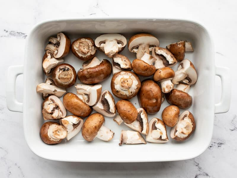 Sliced Mushrooms in a baking dish