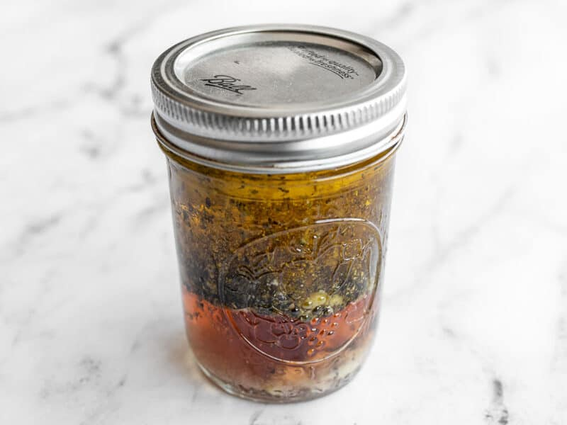 Dressing ingredients in a jar