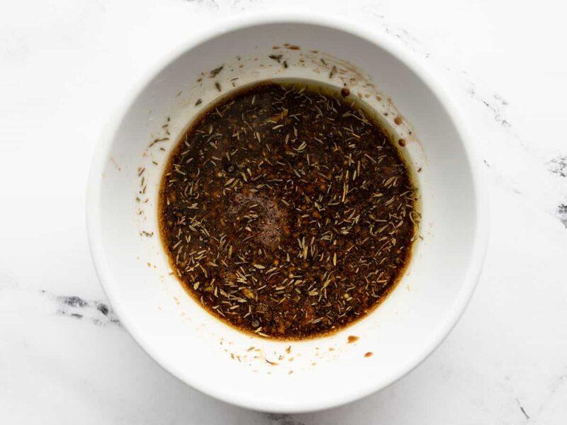 Balsamic mushroom marinade in a bowl