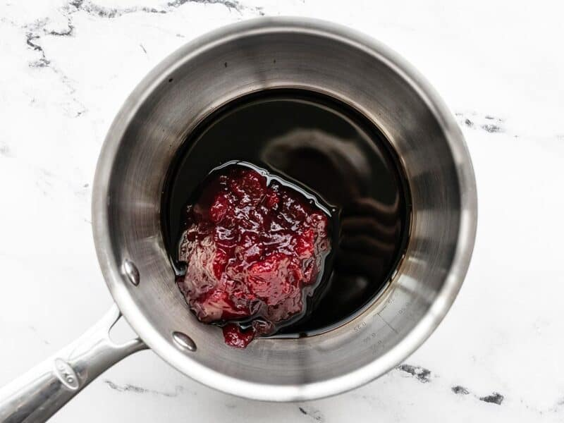 Cranberry sauce and balsamic vinegar in a small sacuepot