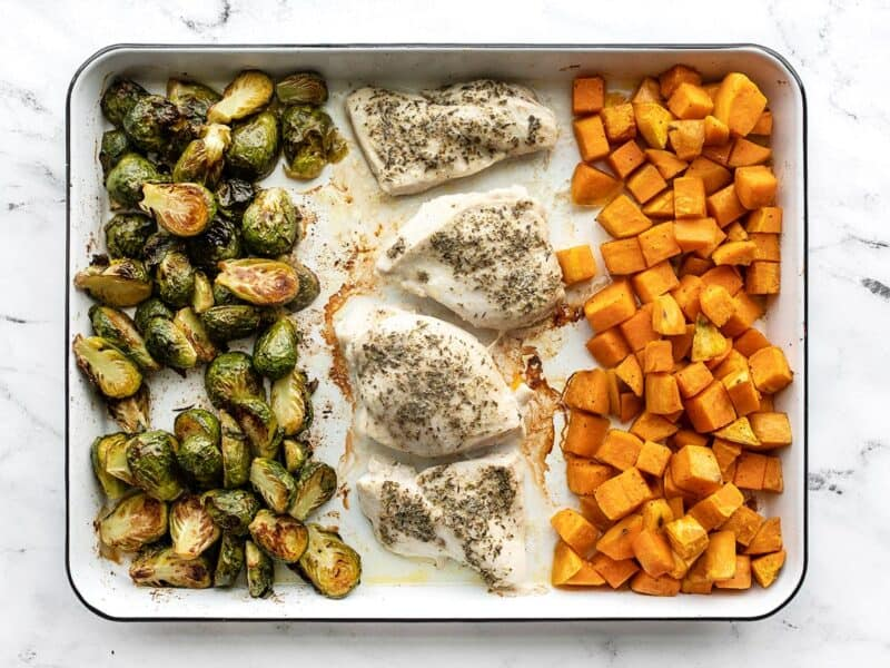 Baked chicken and vegetables on the baking sheet