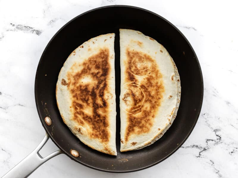Quesadillas toasted in the skillet