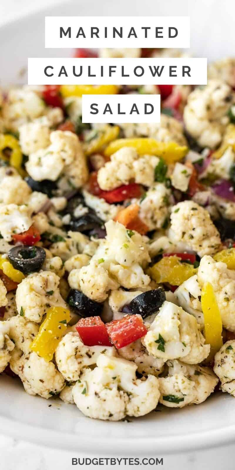 close up of marinated cauliflower salad, title text at the top