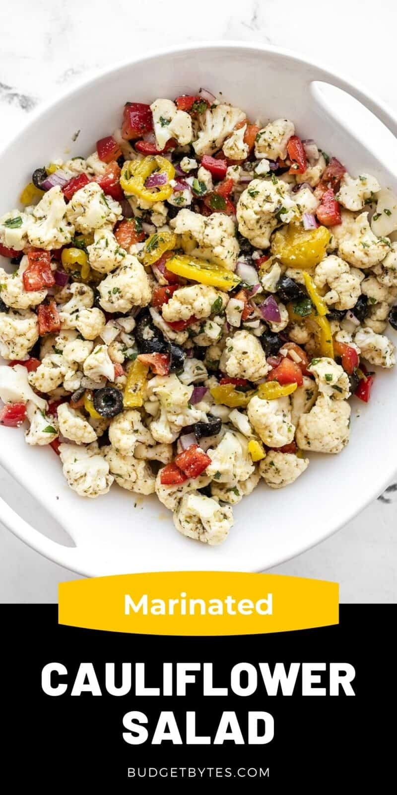 marinated cauliflower salad in a bowl, title text at the bottom