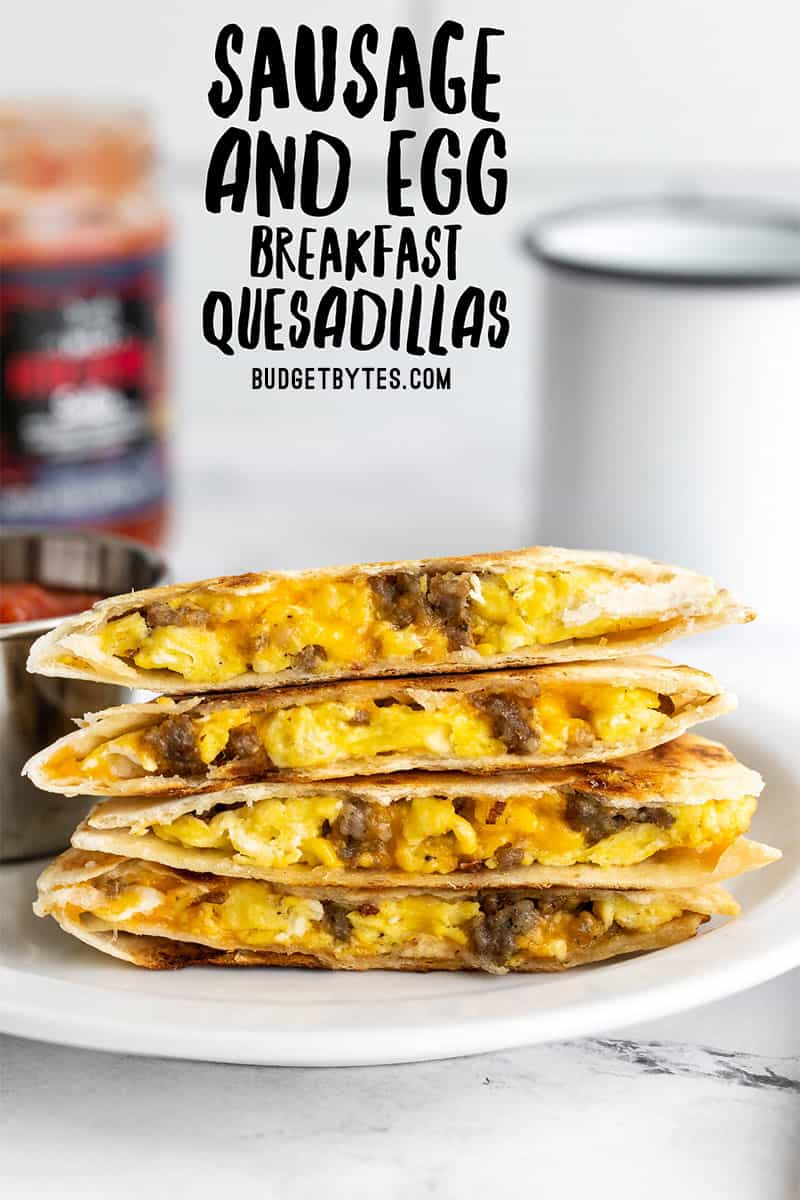 A stack of breakfast quesadillas on a plate