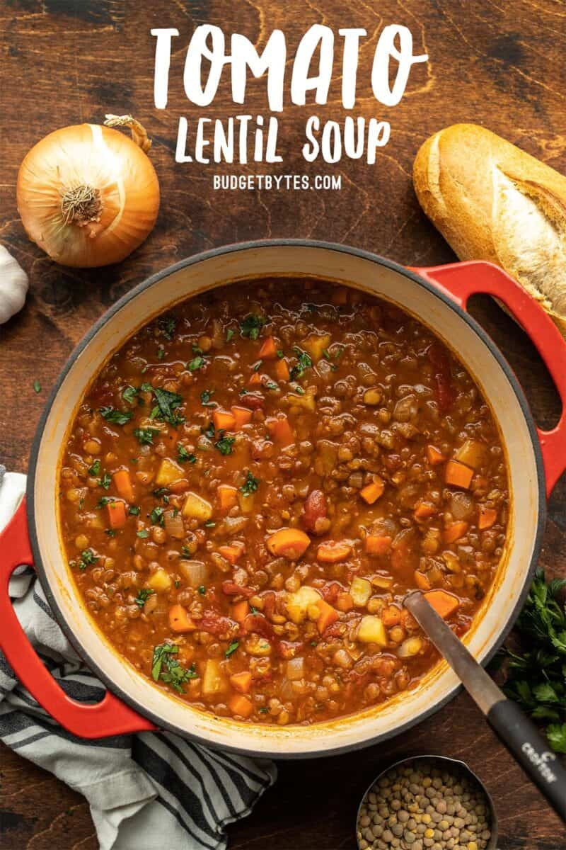 Tomato lentil soup in the pot, title text at the top