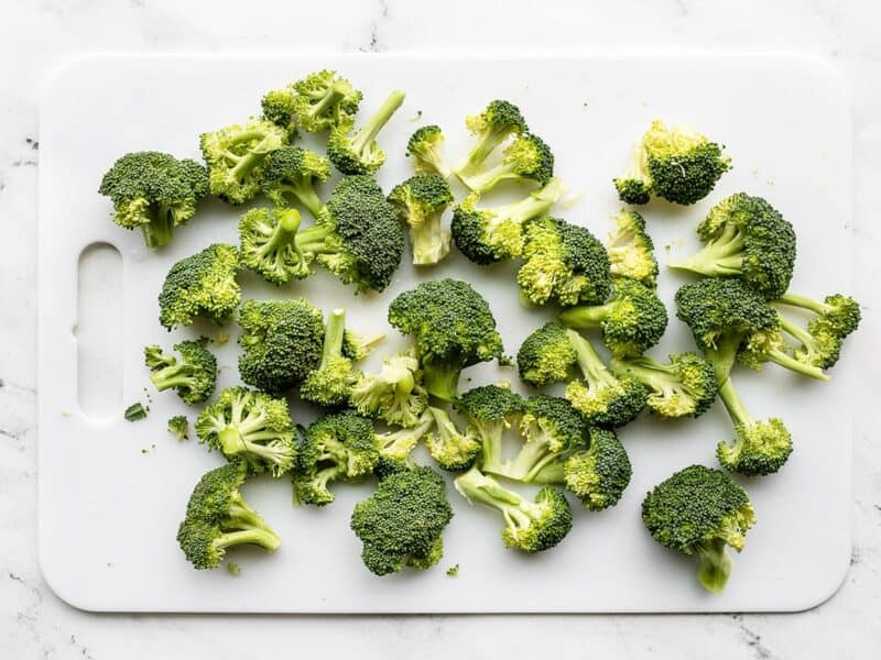Chopped broccoli on a cutting board