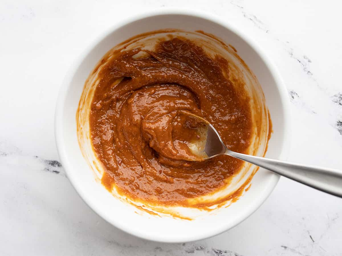 peanut butter and chili paste in a bowl