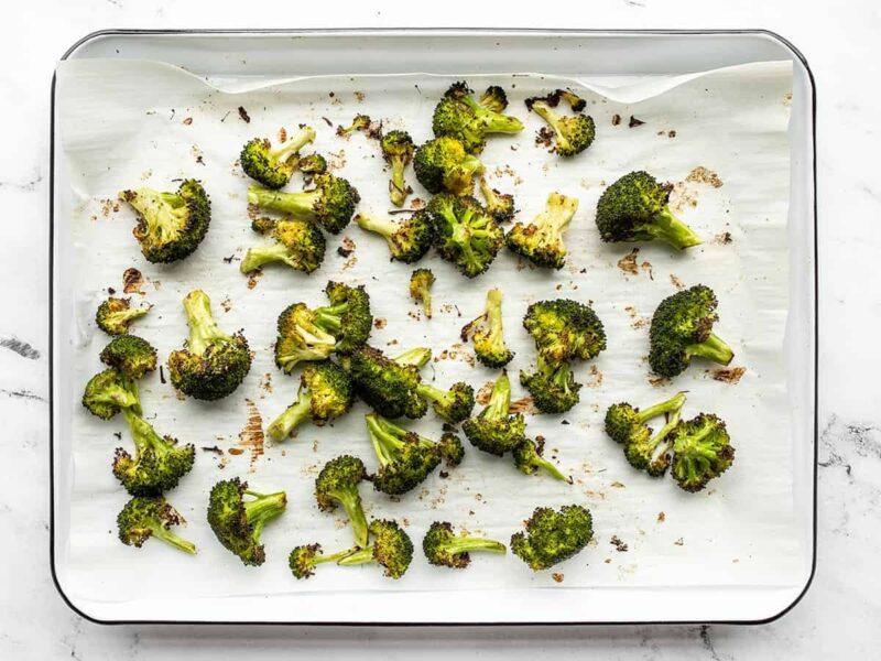 roasted broccoli on the sheet pan