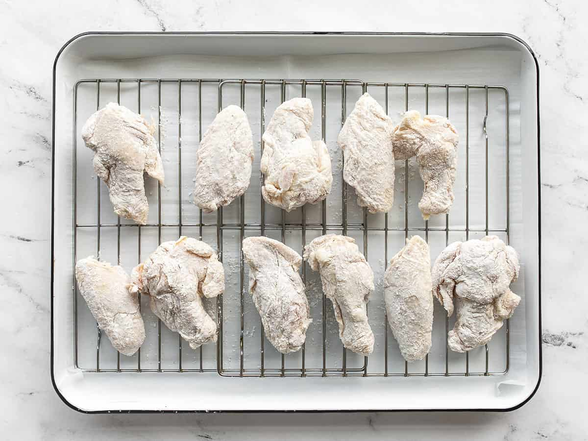 Chicken wings on the baking sheet ready to bake