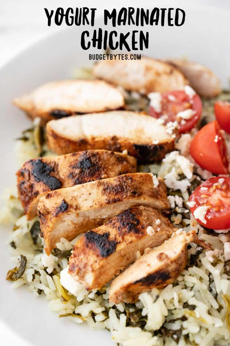 Sliced yogurt marinated chicken on a bed of rice with tomatoes
