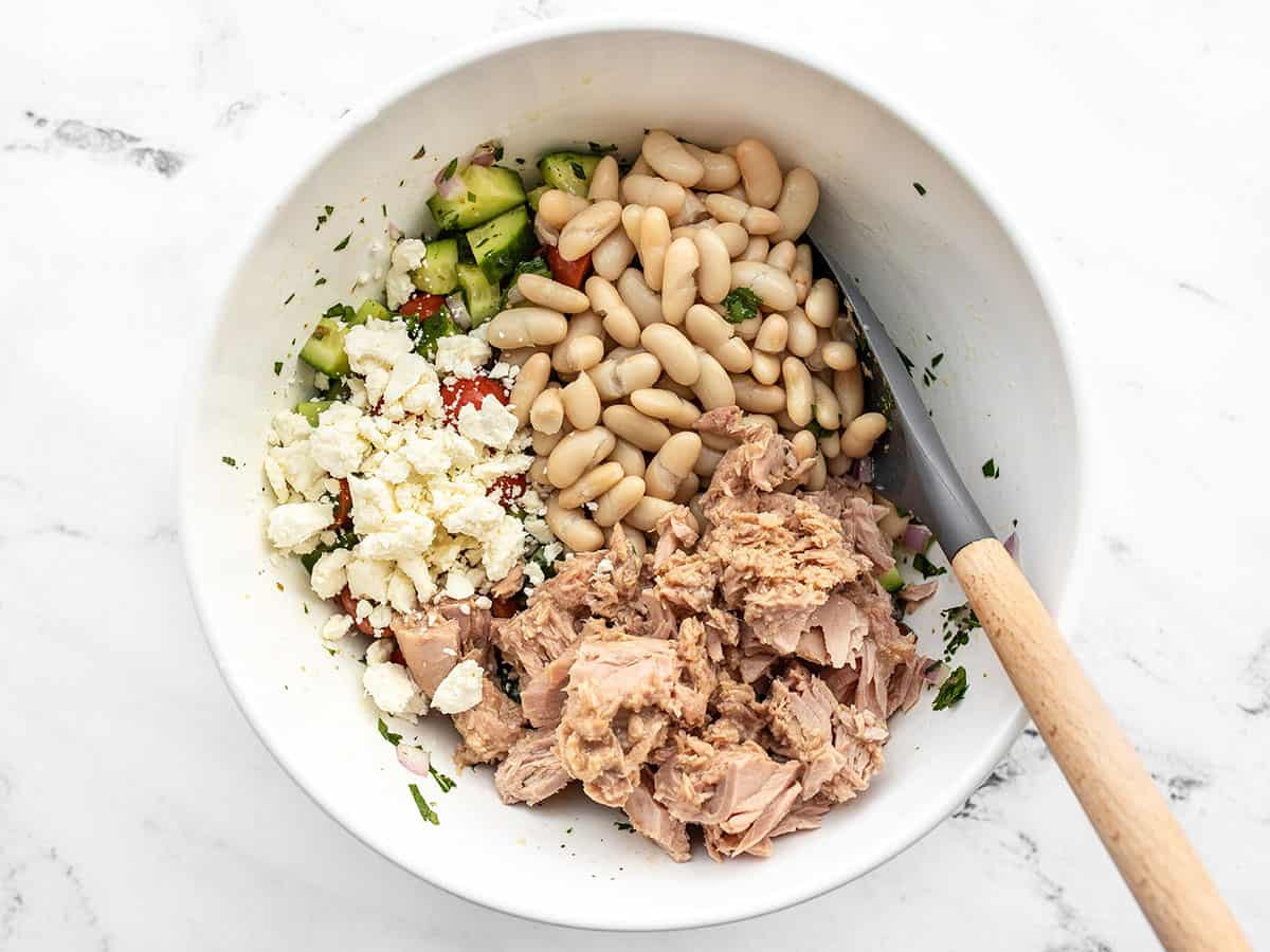 beans, tuna, and feta added to the salad
