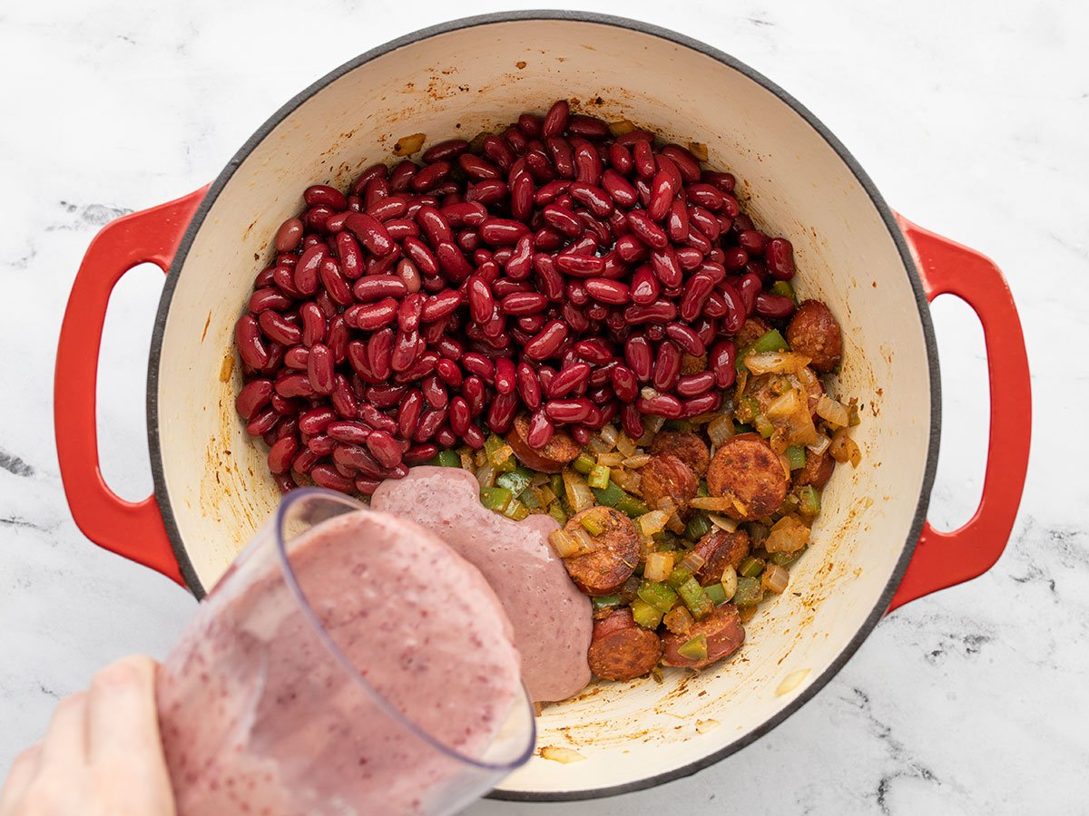 red beans added to the pot