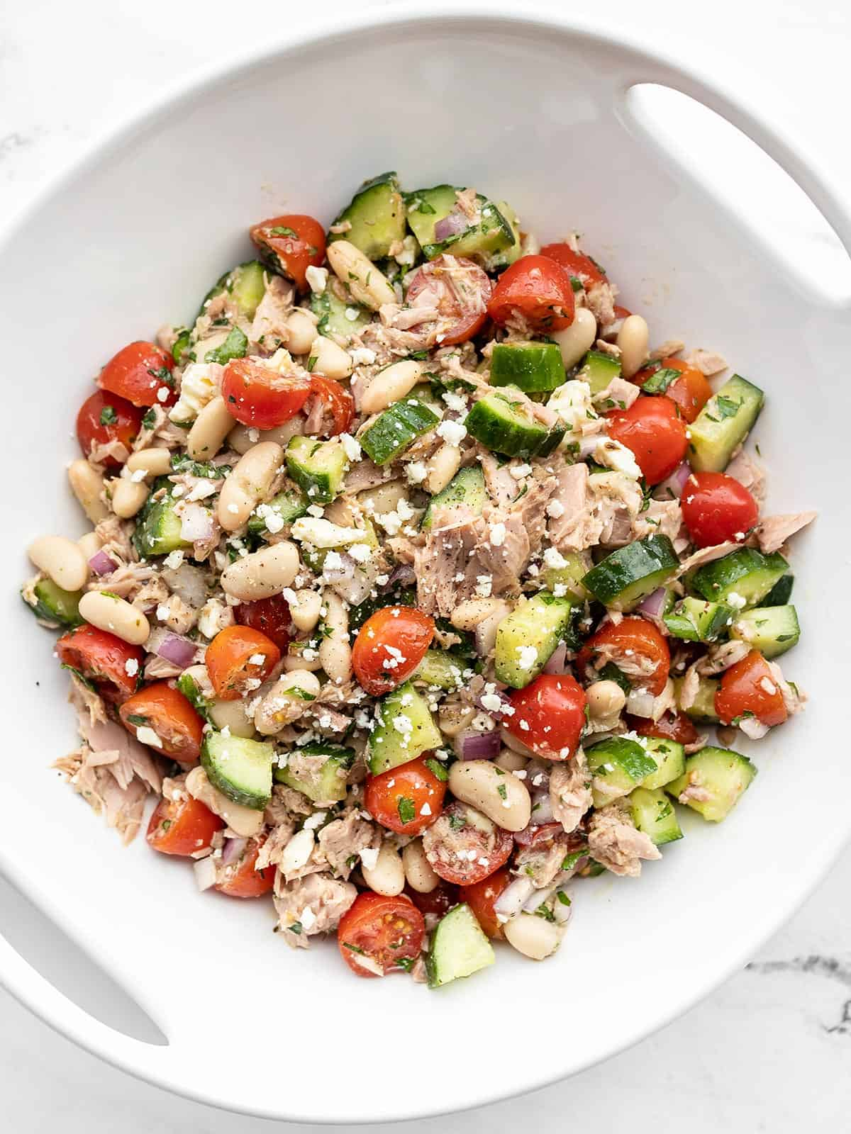Mediterranean Tuna Salad in a white serving dish from above