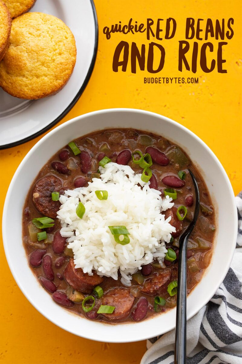 Overhead view of a bowl of red beans and rice, title text at the top
