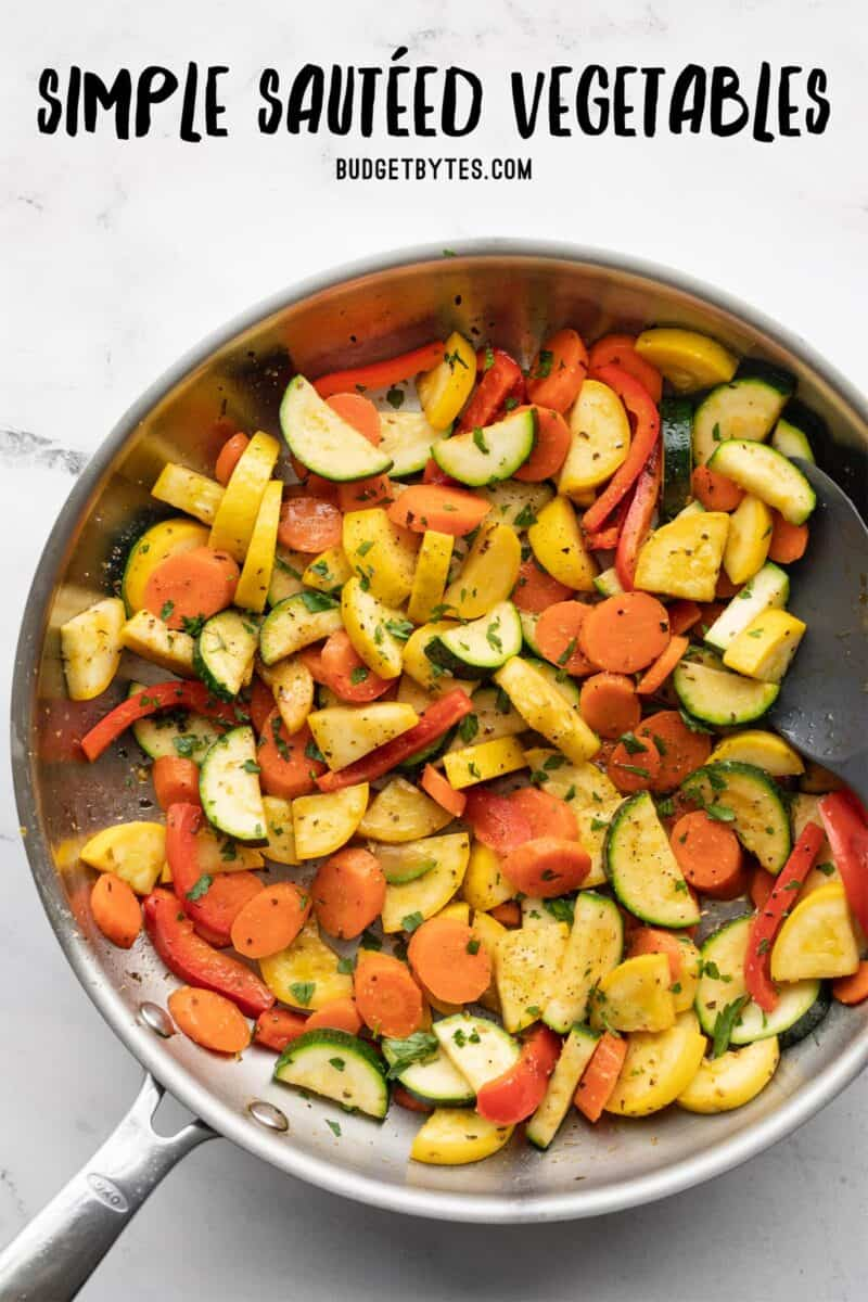 Overhead view of sautéed vegetables in a skillet with title text at the top