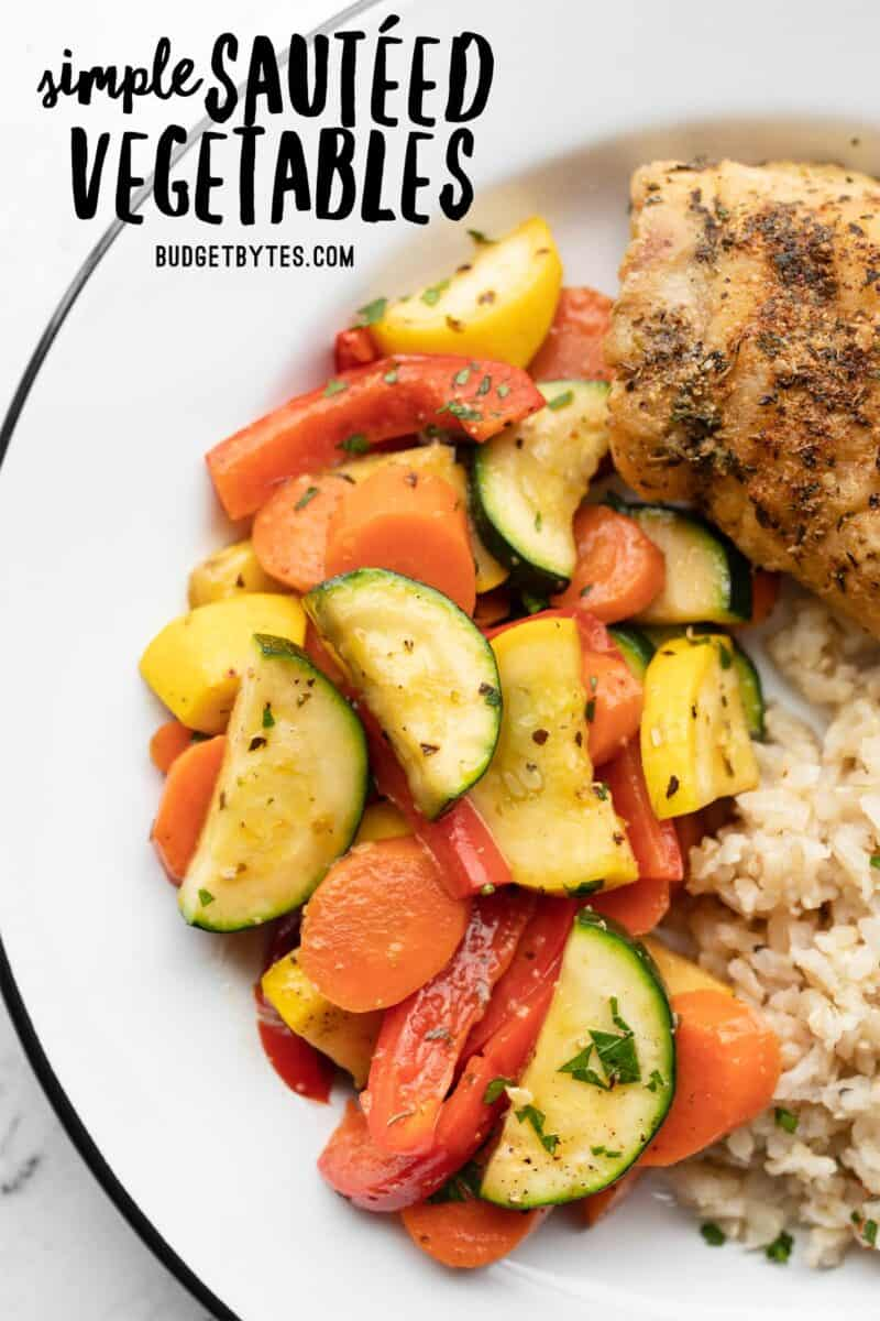 Sautéed Vegetables on a plate with chicken and rice