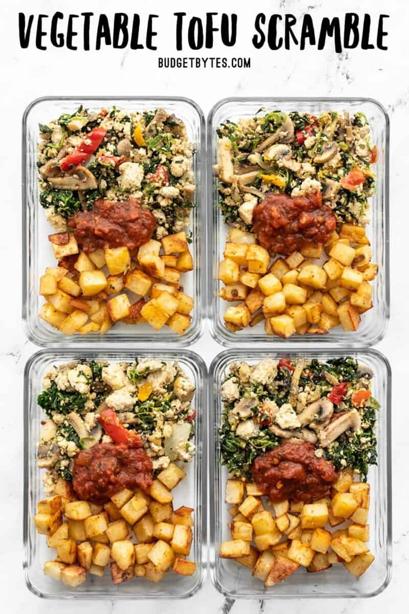 Vegetable tofu scramble and roasted potatoes in glass meal prep containers, title text at the top