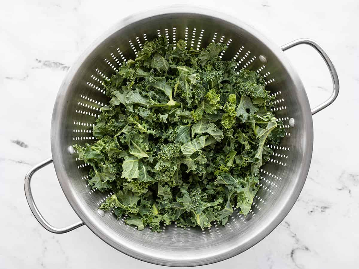Chopped kale in a colander