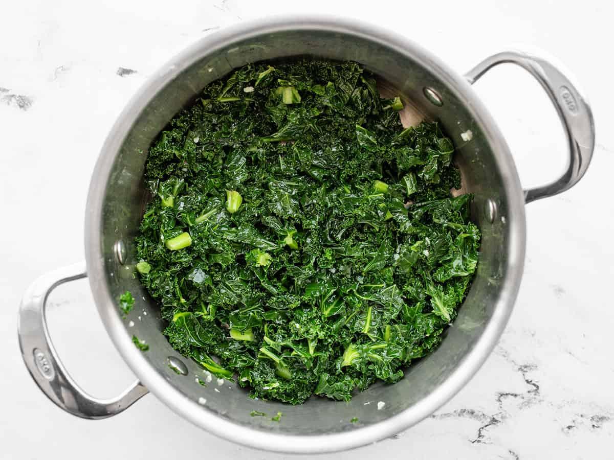Sautéed kale in the pot