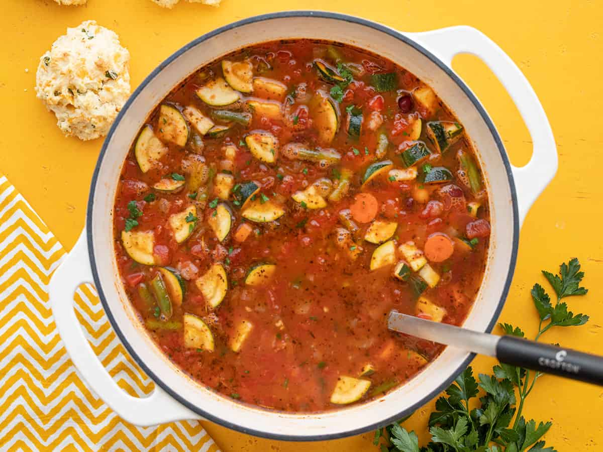 Overhead view of a pot full of vegetarian minestrone