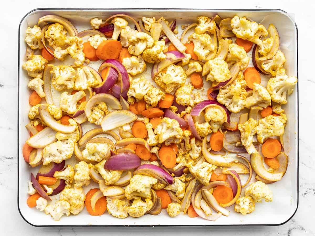 Seasoned unroasted vegetables