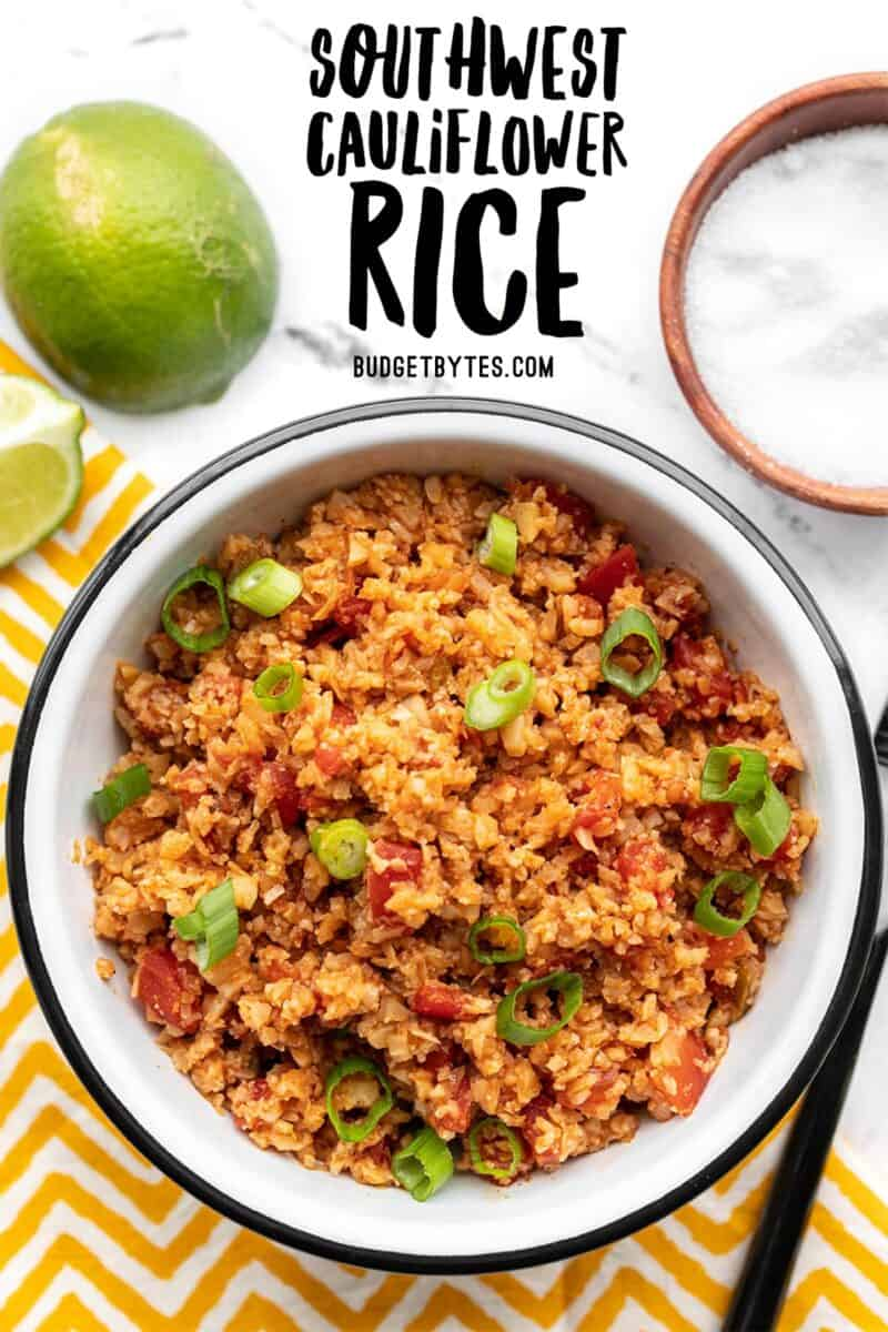 Overhead view of southwest cauliflower rice in a bowl, title text at the top