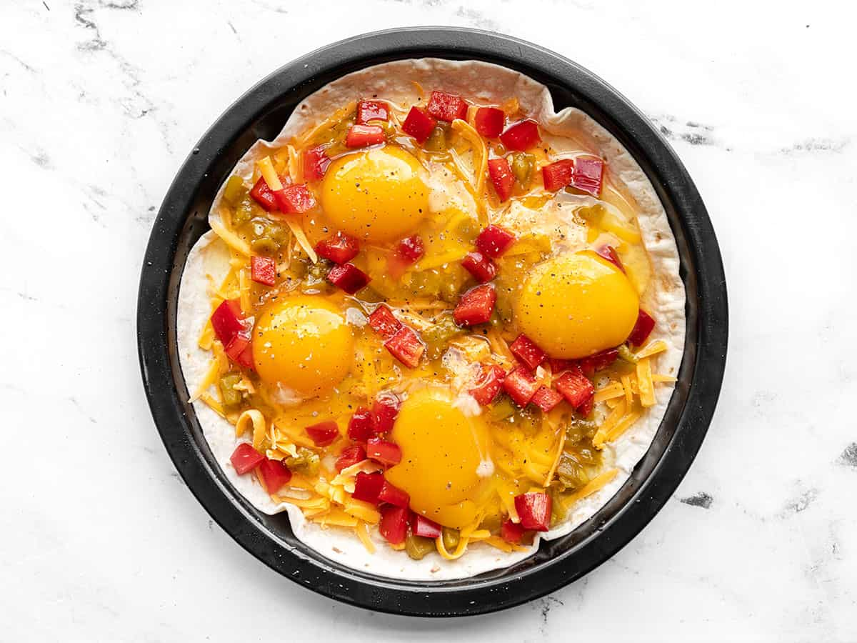Eggs added to the tortilla