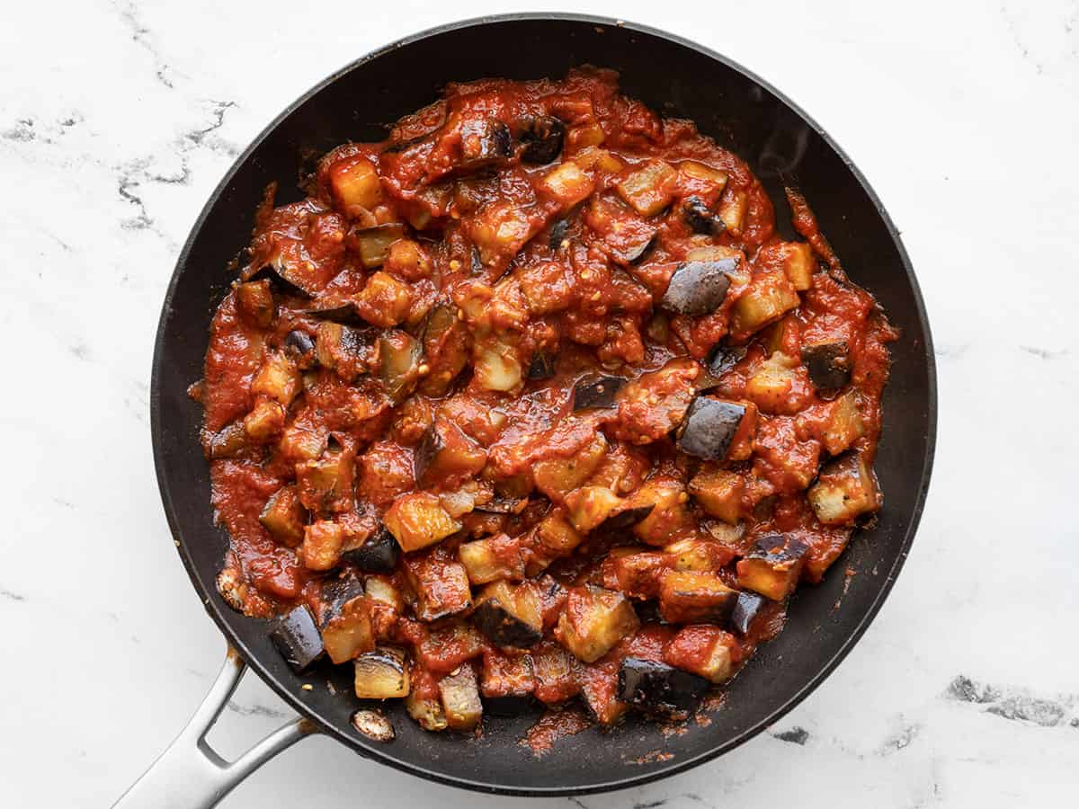 Finished eggplant with marinara in the skillet