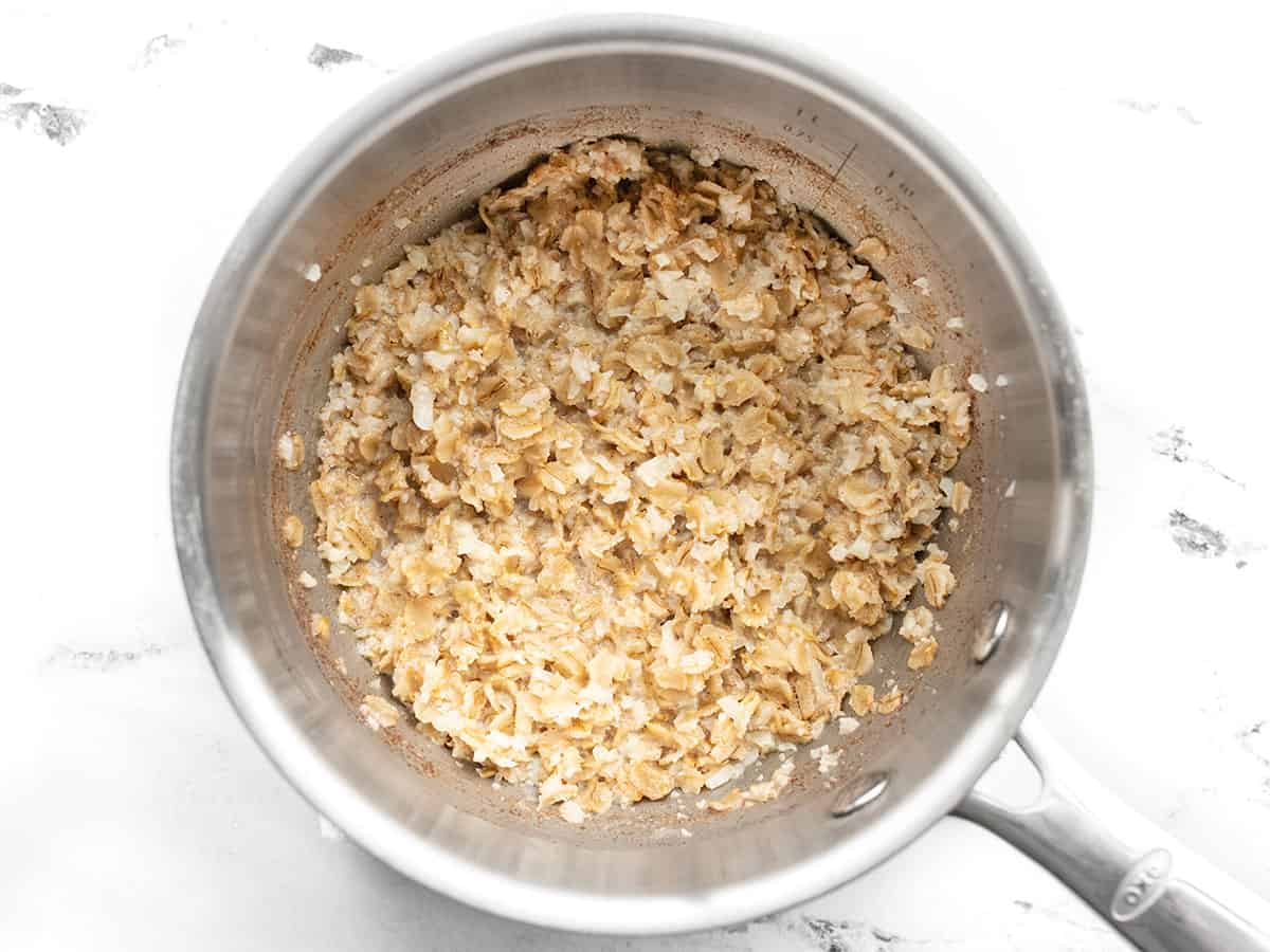 Finished oats cooked in a saucepot on the stove top