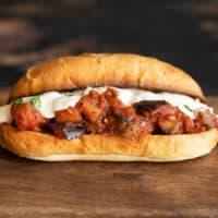 front view of one eggplant mozzarella sandwich