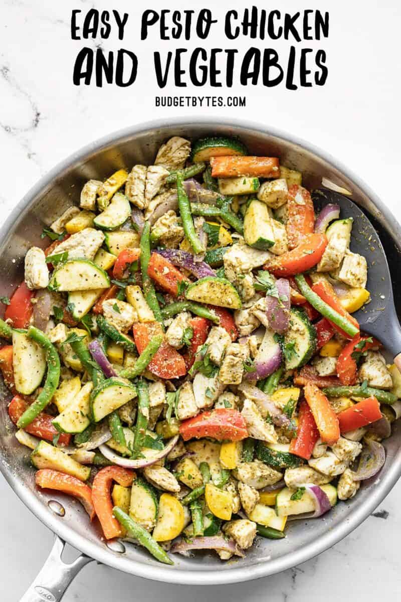 pesto chicken and vegetables in a skillet, title text at the top