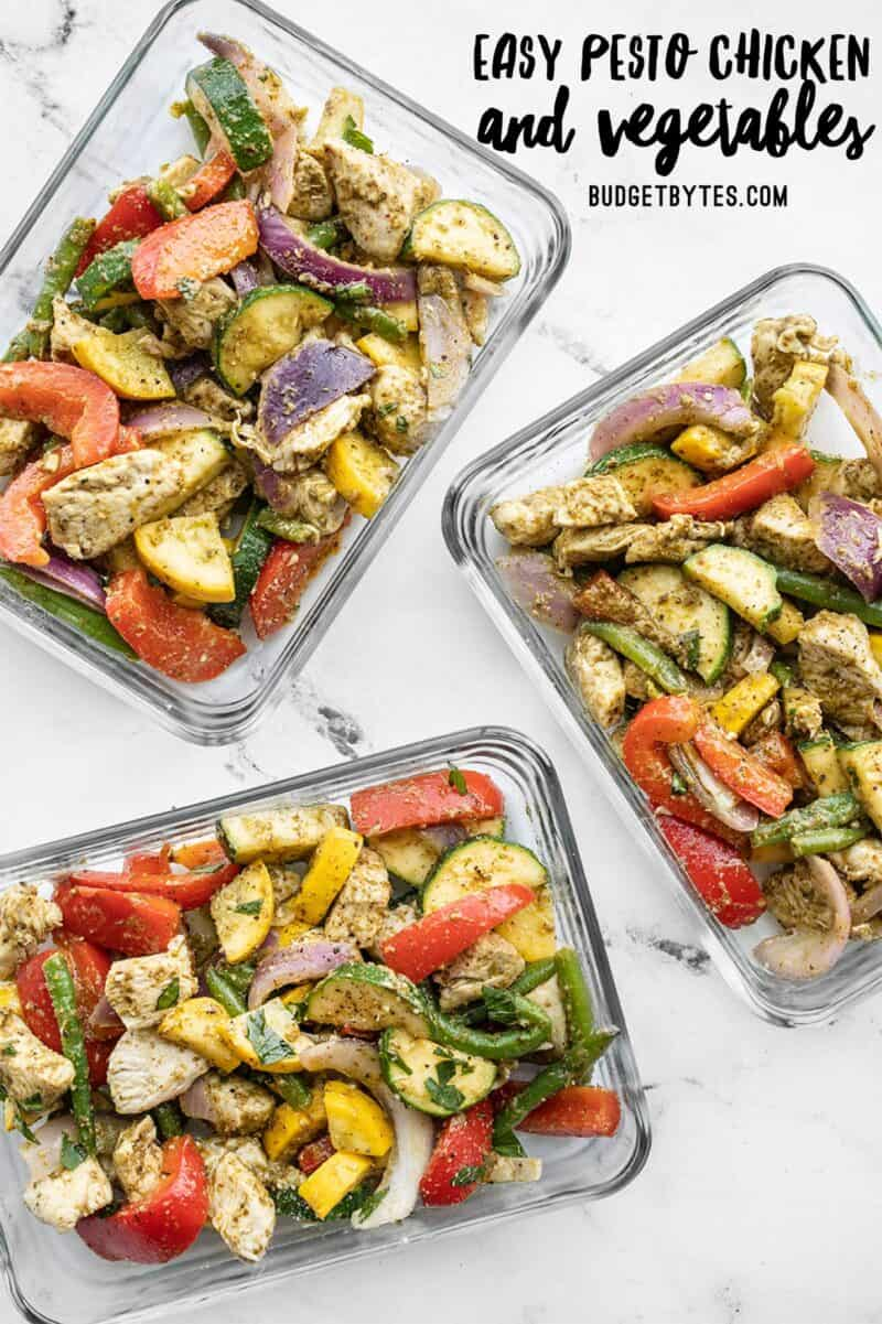 Pesto chicken and vegetables in rectangluar meal prep containers, title text at the top