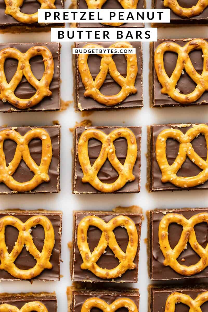 Overhead view of peanut butter bars in a grid, title text at the top
