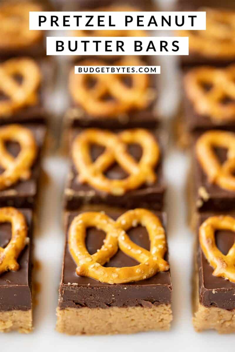front view of no bake pretzel peanut butter bars, title text at the top