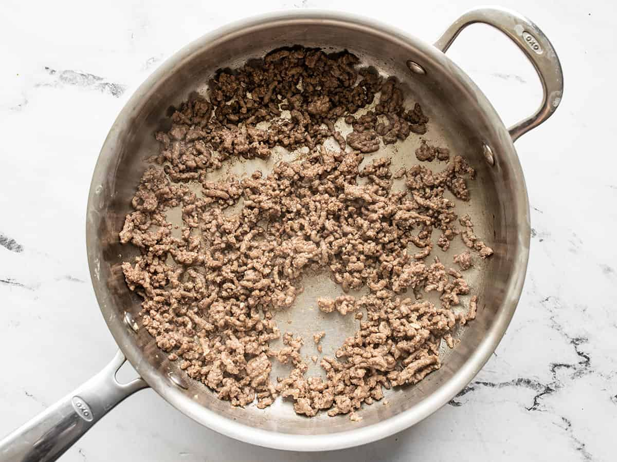 browned ground beef in a skillet