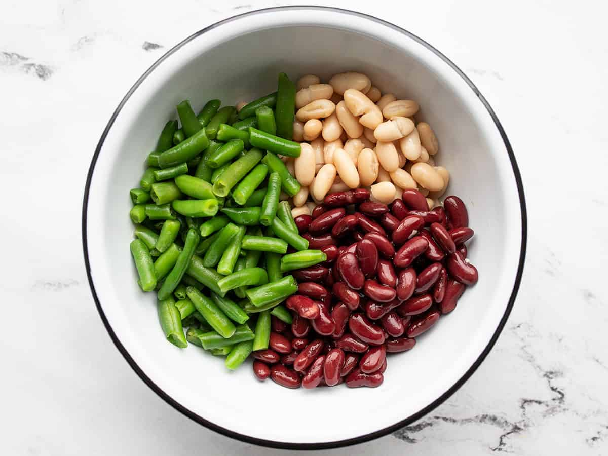 Three types of beans in a bowl