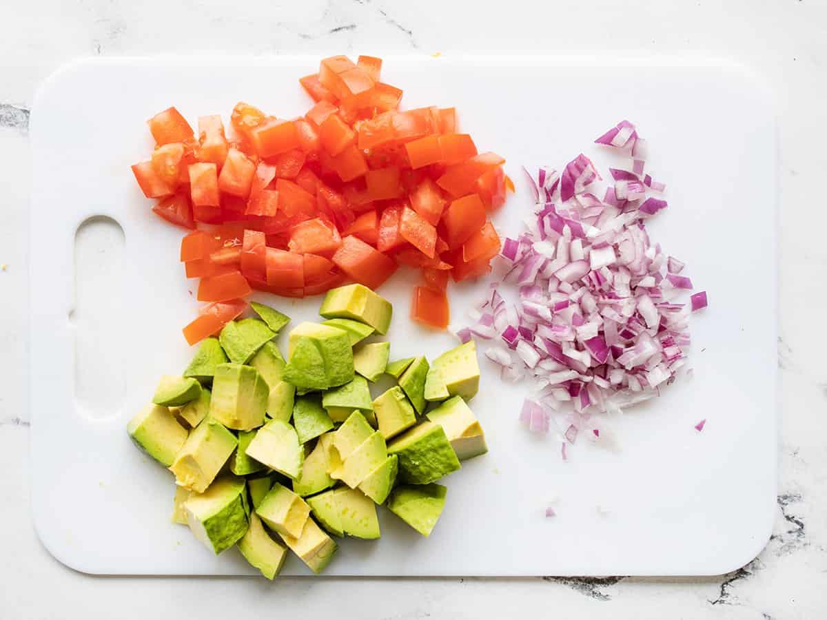 Diced tomato, avocado, and onion