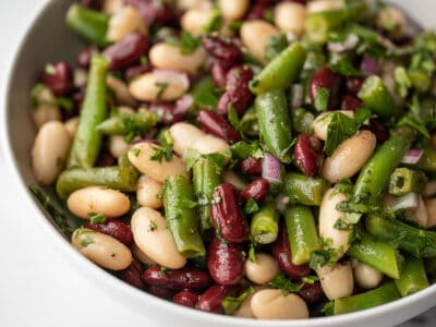 close up of three bean salad in the bowl