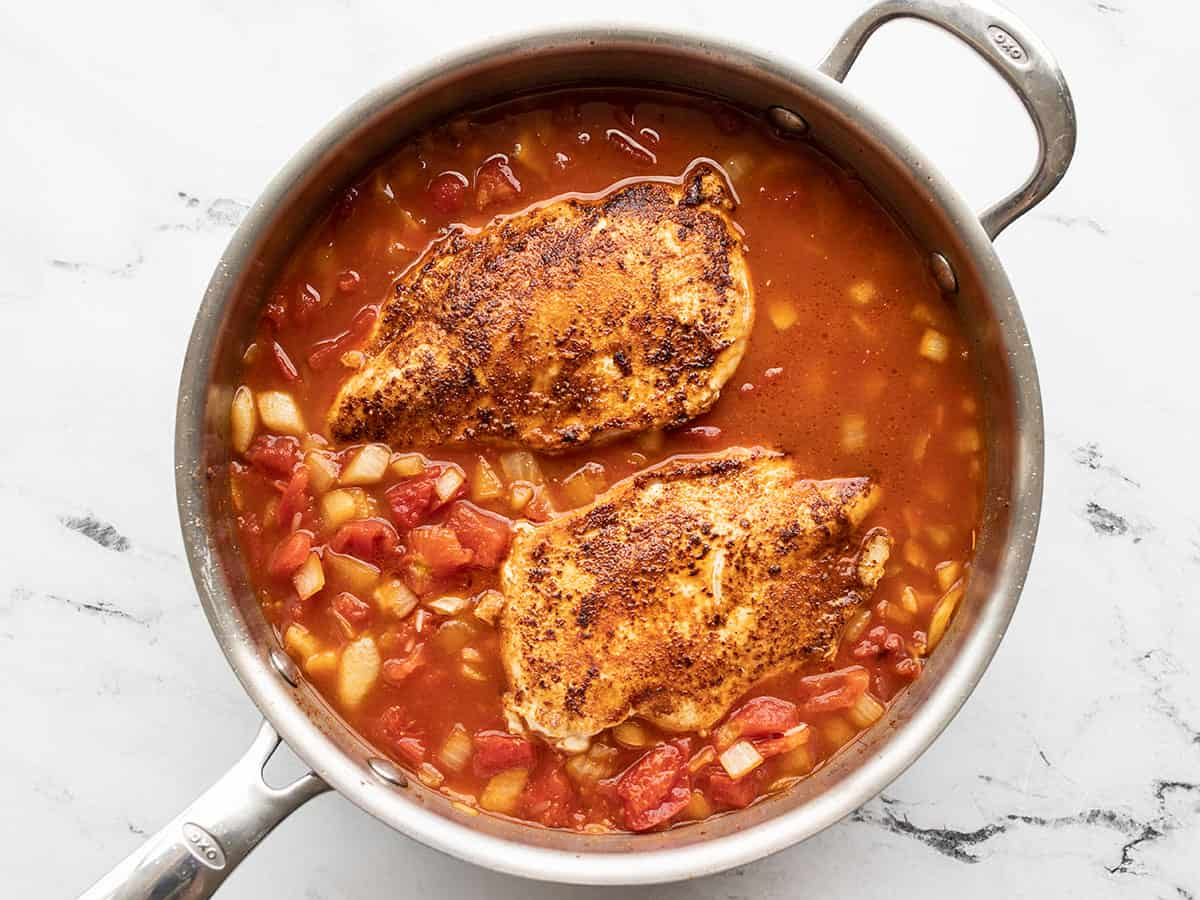 Chicken added back to the skillet
