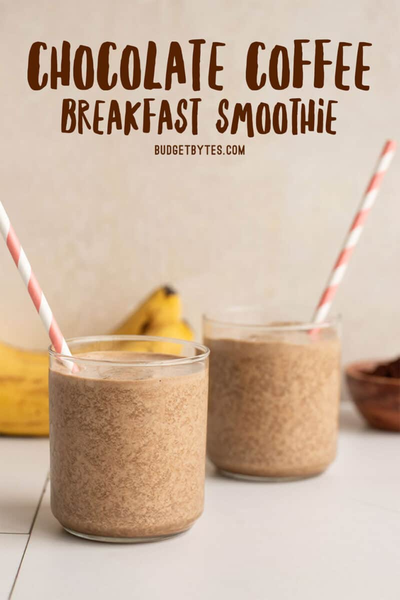 Two chocolate coffee breakfast smoothies from the side, with straws, title text at the top