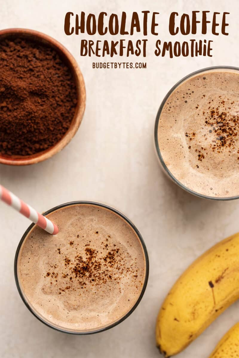 Two glasses of chocolate coffee breakfast smoothie from above, title text at the top