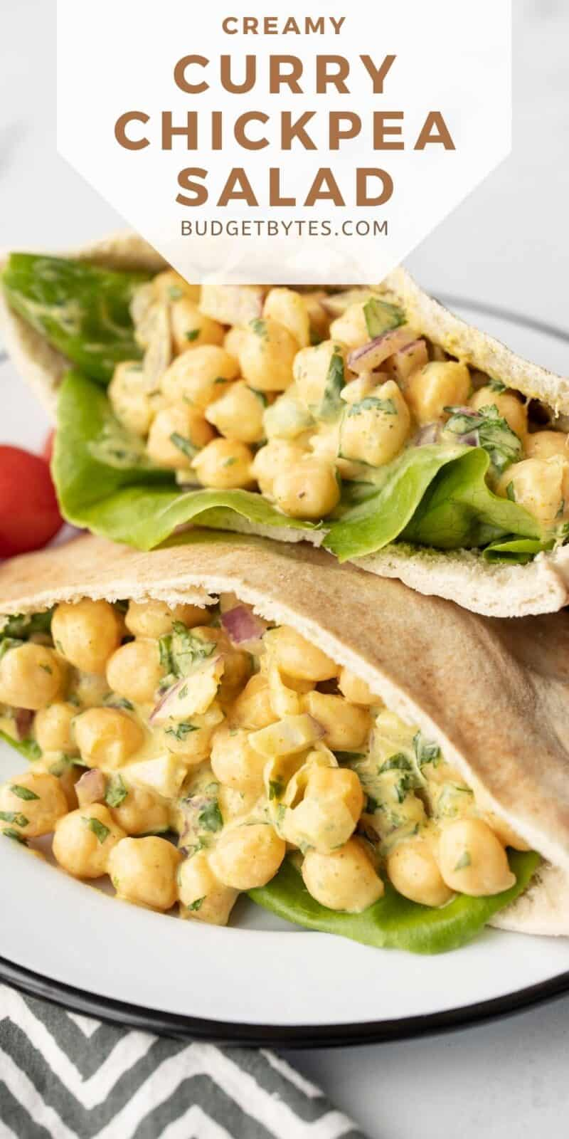 Curry chickpea salad in two pita pockets, title text at the top