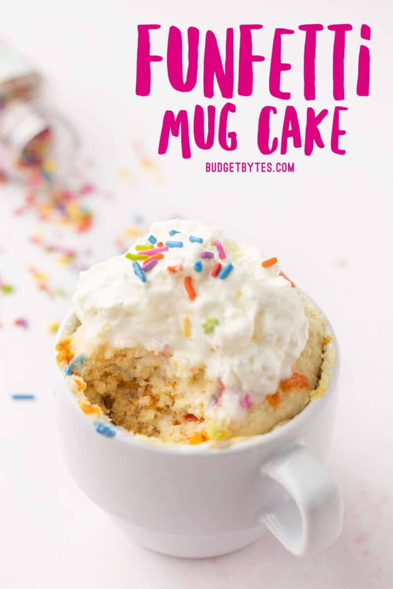 Funfetti mug cake with a bite taken out, title text at the top